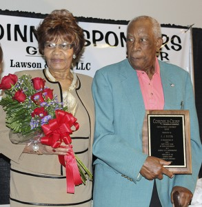 Becky Crissman/Cordele Dispatch Retired City Commissioner A.J. Rivers was presented the Lifetime Achievement Award by the Chamber. His wife Vera, was presented with a bouquet of roses for her support of him throughout his service to the community.