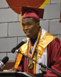 Becky Crissman/Cordele Dispatch  Dooly County High School Valedictorian Christopher Small gives his address during Friday nights commencement exercises.