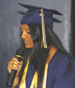 Joe Joe Wright/Cordele Dispatch Helley Patel Valedictorian speaks at Fullington Graduation.