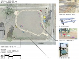 Plans and design for the Cordele Walking track.