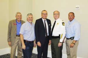 Becky Crissman/Cordele Dispatch Area law enforcement and first responders both locally and from around the state attended a Public Safety Appreciation Luncheon at the Retreat at Lake Blackshear. (Pictured l-r) State Rep. Buddy Harden, Senator Greg Kirk, Lt. Governor Casey Cagle, Crisp County Sheriff Billy Hancock and Dooly County Sheriff Craig Peavy.