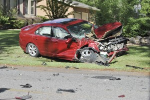 Becky Crissman/Cordele Dispatch Ford Fusion struck by the truck.